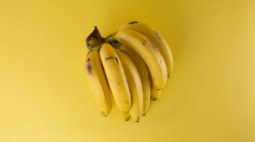 Banaaniterttu keltaisella taustalla